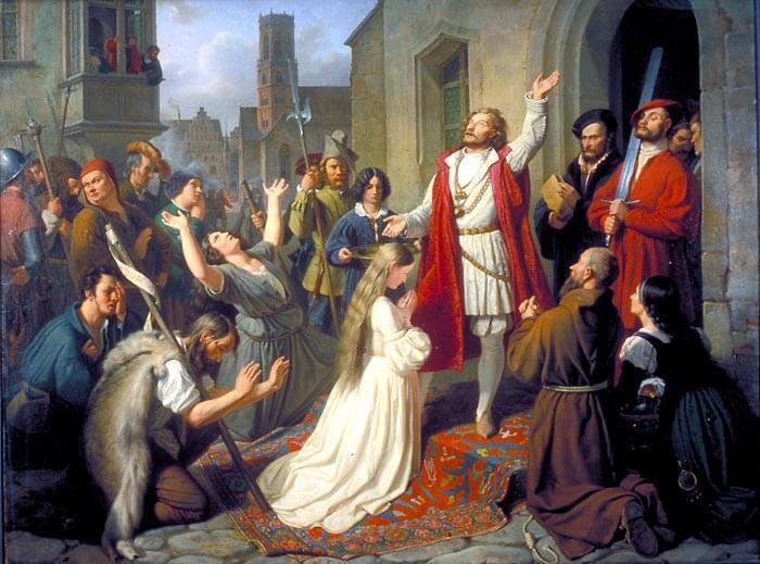 Jan van Leiden tauft ein Mädchen | Die Wiedertäufer von Münster