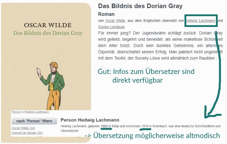 Beispiel für die Recherche von Übersetzungen auf isbn.de