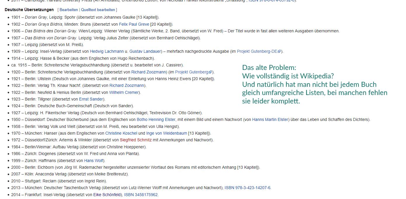 Beispiel für die Recherche von Übersetzungen auf Wikipedia