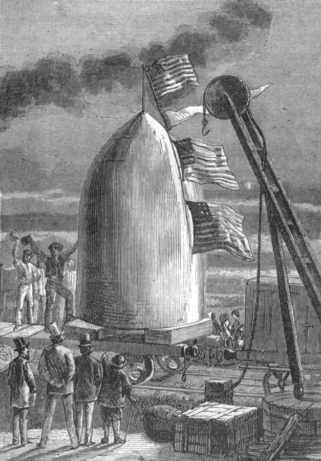 Von der Erde zum Mond - Illustration von Henri de Montaut (gemeinfrei, Quelle: Wikimedia Commons)